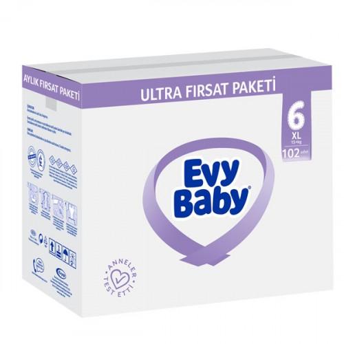 Evy Baby Bebek Bezi 6 Beden Ekstra Large Ultra Fırsat Paketi 102 Adet (Şampuan Hediye)