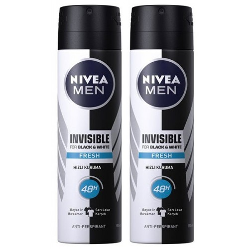 Nivea Men Invisible Black & White Fresh Deodorant 150 ml x 2 Adet