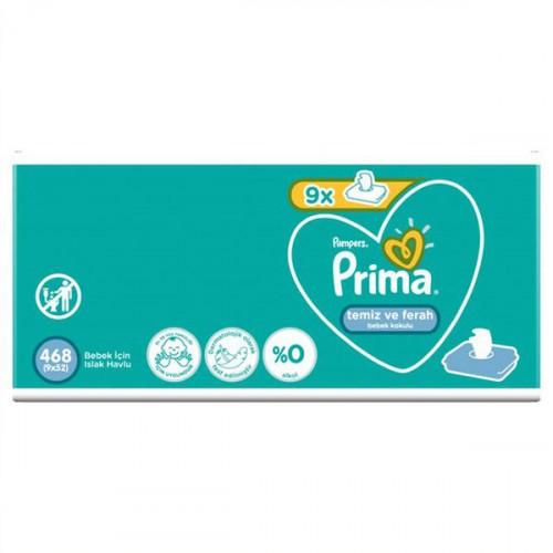 Prima Islak Havlu Temiz ve Ferah 9 lu Fırsat Paketi 468 Yaprak