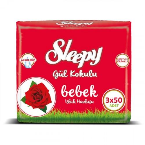 Sleepy Islak Havlu Gül Kokulu 50 li x 3 Adet (150 Yaprak)