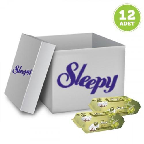 Sleepy Islak Havlu Zeytinyağı-Pamuksu Lifler 90 lı x 12 Adet (1080 Yaprak)