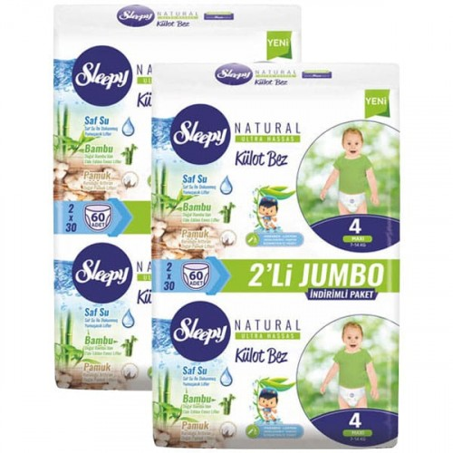Sleepy Natural Külot Bez Maxi 4 No 60 lı x 2 Adet