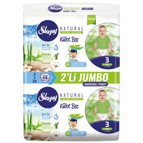 Sleepy Natural Külot Bez Midi 3 No 34 lü x 2 Adet