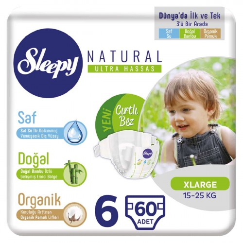 Sleepy Natural Bebek Bezi X Large 6 No 60 lı