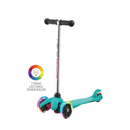 Triathlon T137 7 Renk Led Işıklı 3 Tekerlekli Scooter - Mavi