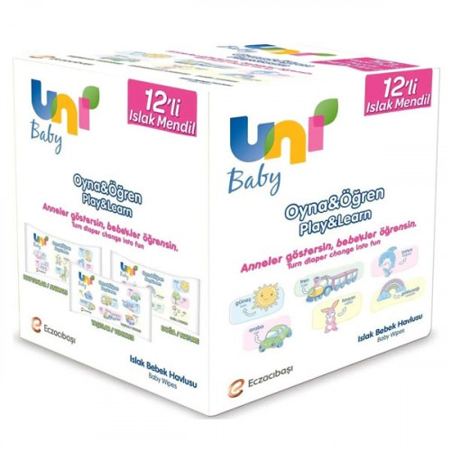 Uni Baby Oyna Öğren Islak Mendil 12'li Fırsat Paketi (624 Yaprak)