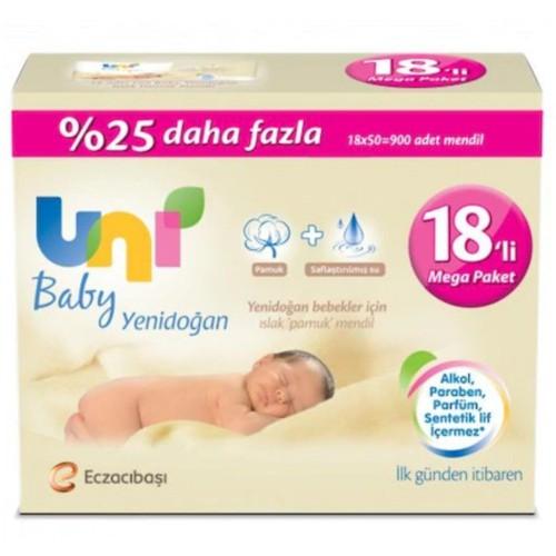 Uni Baby Yenidoğan Islak Mendil 50 Yaprak 18 li Paket (900 Yaprak)
