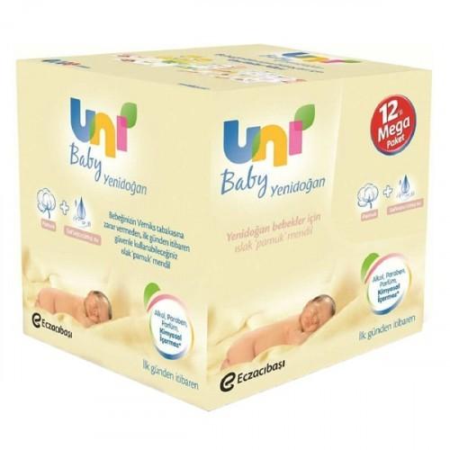 Uni Baby Yenidoğan Islak Pamuk Mendil 4 lü x 3 Adet (480 Yaprak)