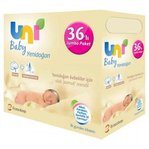 Uni Baby Yenidoğan Islak Pamuk Mendil 36 lı Paket (1.440 Yaprak)