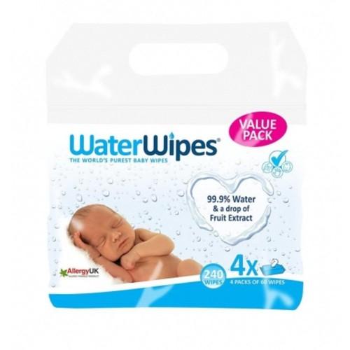 WaterWipes Doğal Islak Mendil 60 lı x 4 Adet (240 Yaprak)