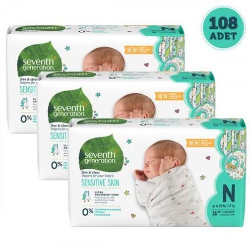 Seventh Generation Bebek Bezi Yeni Doğan 0 Beden 36 Adet x 3 Adet