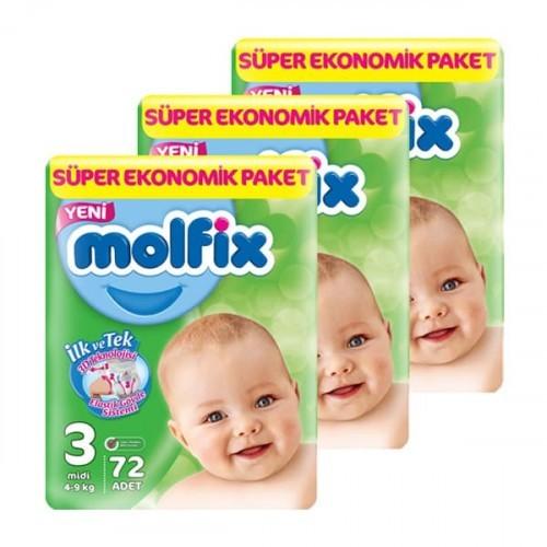 Molfix Bebek Bezi Dev Ekonomi Midi 3 No 72 li x 3 Adet