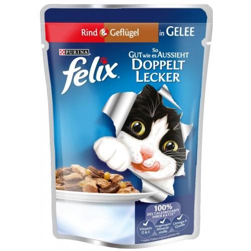 Felix Pouch Sığır Etli ve Tavuklu Yetişkin Kedi Yaş Maması 100 gr