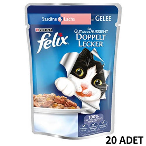 Felix Pouch Somon ve Sardalyalı Yaş Kedi Maması 100 gr x 20 Adet