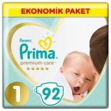 Prima Bebek Bezi Premium Care 1 Beden Yenidoğan Ekonomik Paket 92 Adet