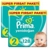 Prima Bebek Bezi Yeni Bebek 2 Beden Mini Mega Fırsat Paketi 256 Adet
