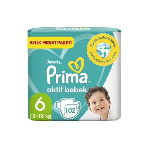 Prima Pampers Bebek Bezi Aktif Bebek Aylık Ekstra Large 6 Beden 102 li