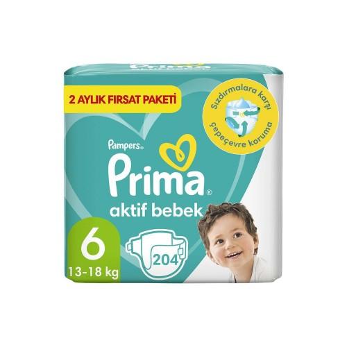 Prima Pampers Bebek Bezi Aktif Bebek Aylık X-Large 6 No 102li x 2 Adet